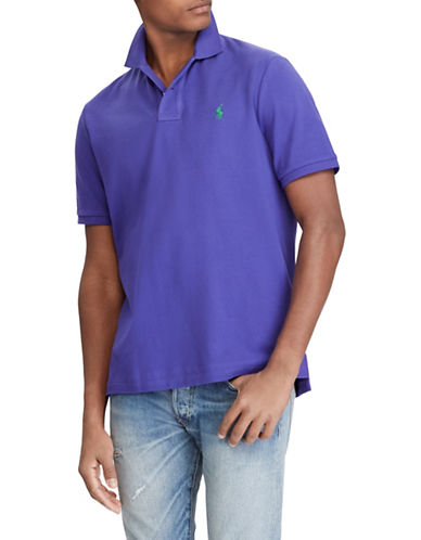 Polo Ralph Lauren Custom Slim-Fit Cotton Mesh Polo-PURPLE-Large