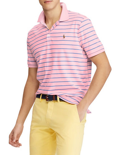 Polo Ralph Lauren Classic-Fit Striped Soft-Touch Cotton Polo-PINK-Small