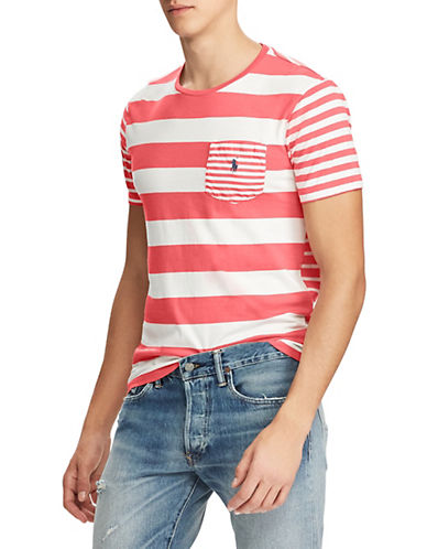 Polo Ralph Lauren Classic-Fit Striped Jersey Cotton T-Shirt-RED-Medium 89952715_RED_Medium