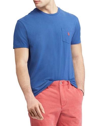 Polo Ralph Lauren Classic-Fit Pocket Cotton Tee-BLUE-Large