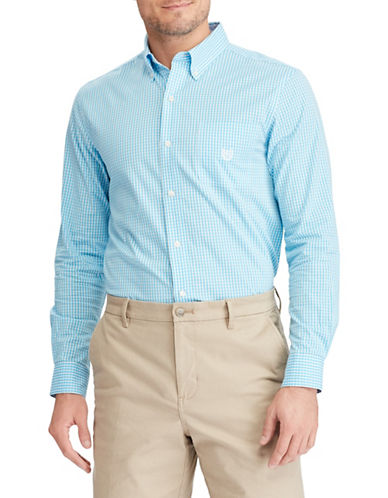Chaps Stretch End-Of-End Sport Shirt-BLUE-Large