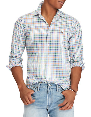 Polo Ralph Lauren Plaid Long-Sleeve Cotton Sport Shirt-GREEN-X-Large