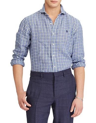 Polo Ralph Lauren Classic-Fit Plaid Linen Sport Shirt-NAVY-Medium 89952558_NAVY_Medium