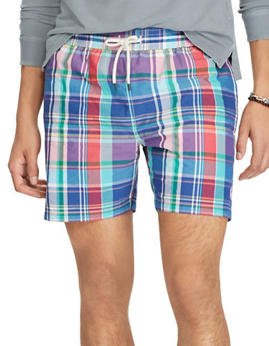 Polo Ralph Lauren Plaid Traveller Swim Trunk-TURQUOISE-Large