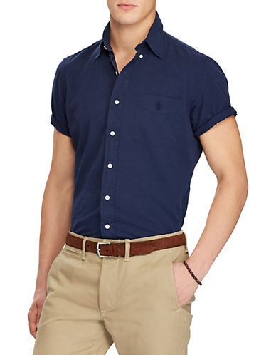 Polo Ralph Lauren Classic-Fit Cotton Sport Shirt-NAVY-Large 90001585_NAVY_Large