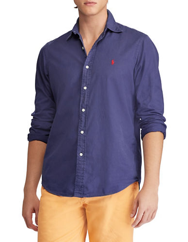 Polo Ralph Lauren Slim-Fit Twill Cotton Sport Shirt-NAVY-Large