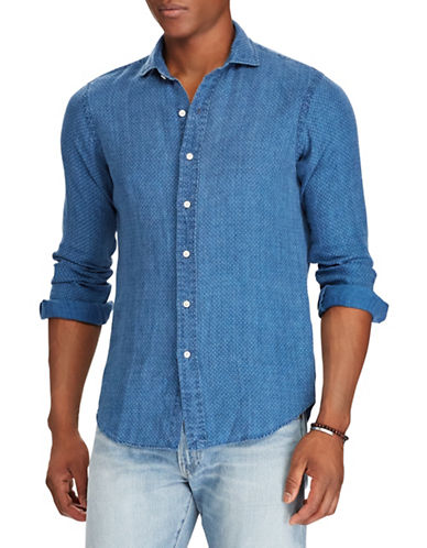 Polo Ralph Lauren Classic-Fit Linen Sport Shirt-BLUE-Large