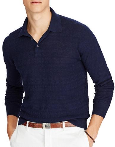 Polo Ralph Lauren Classic Linen-Blend Sweater-NAVY-Small