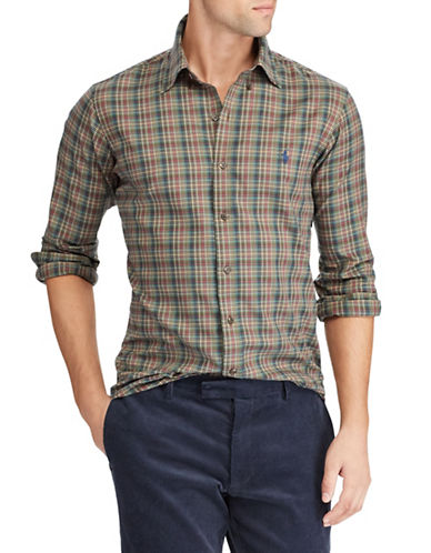 Polo Ralph Lauren Plaid Cotton Sport Shirt-BROWN-X-Large