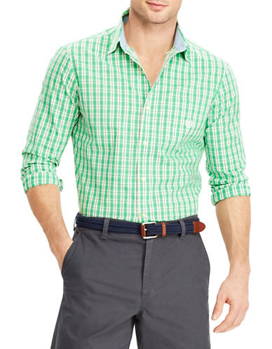 Chaps Poplin Long-Sleeve Sport Shirt-GREEN-Large