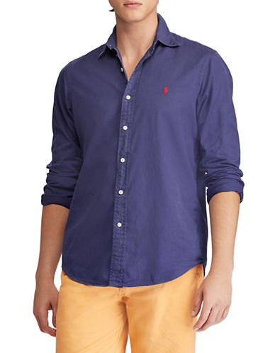 Polo Ralph Lauren Slim-Fit Twill Cotton Sport Shirt-NAVY-Large 89881171_NAVY_Large