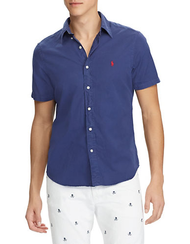 Polo Ralph Lauren Big and Tall Classic-Fit Cotton Twill Sport Shirt-NAVY-Large Tall 89957705_NAVY_Large Tall