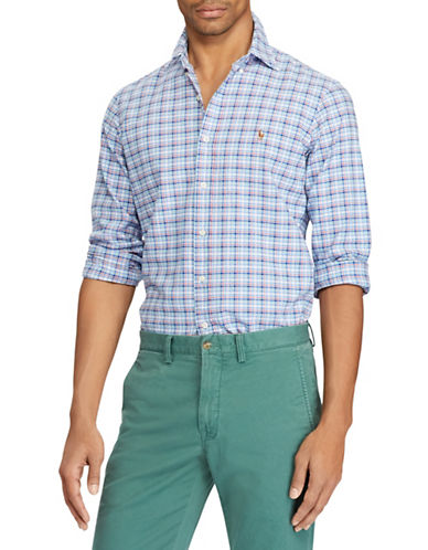 Polo Ralph Lauren Big and Tall Classic-Fit Plaid Cotton Sport Shirt-BLUE-2X Tall