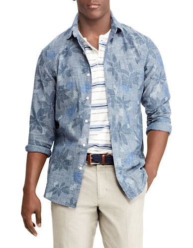 Chaps Printed Cotton Sport Shirt-BLUE-Small