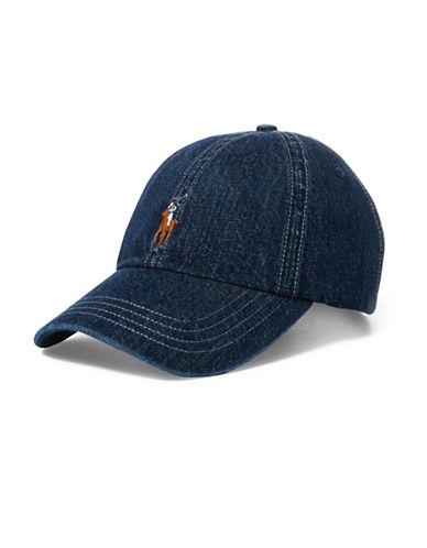 Polo Ralph Lauren Logo Denim Baseball Cap-NAVY BLUE-One Size