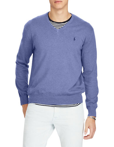 Polo Ralph Lauren Classic V-Neck Cotton Sweater-MEDIUM BLUE-Large