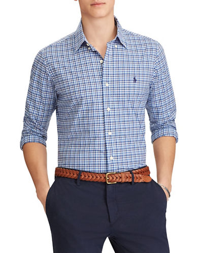 Polo Ralph Lauren Slim-Fit Checked Cotton Sport Shirt-BLUE-Large