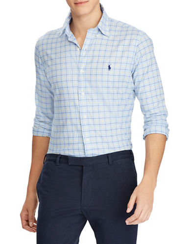 Polo Ralph Lauren Slim Fit Cotton Sport Shirt-BLUE-Large