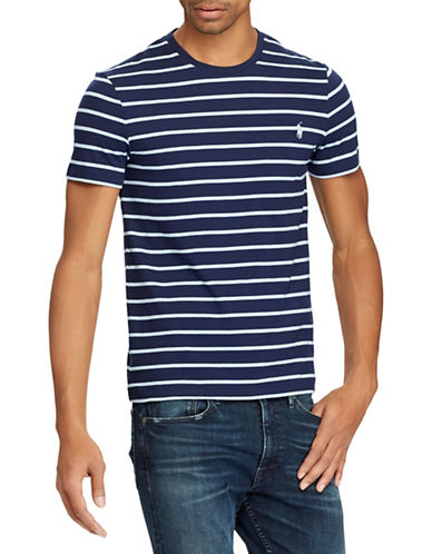 Polo Ralph Lauren Custom Slim-Fit Striped Cotton Tee-NAVY BLUE-XX-Large