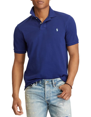 Polo Ralph Lauren Custom Slim-Fit Cotton Mesh Polo-NAVY-Small