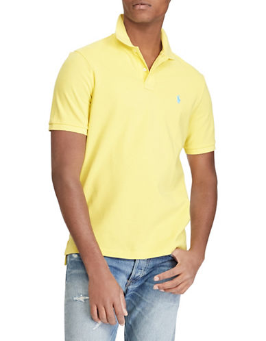 Polo Ralph Lauren Custom Slim-Fit Cotton Mesh Polo-YELLOW-Large
