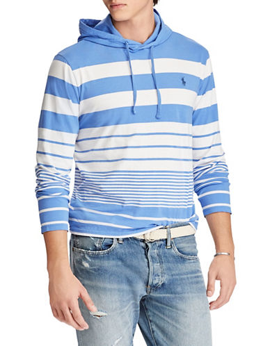 Polo Ralph Lauren Striped Cotton Hooded Tee-BLUE-Small