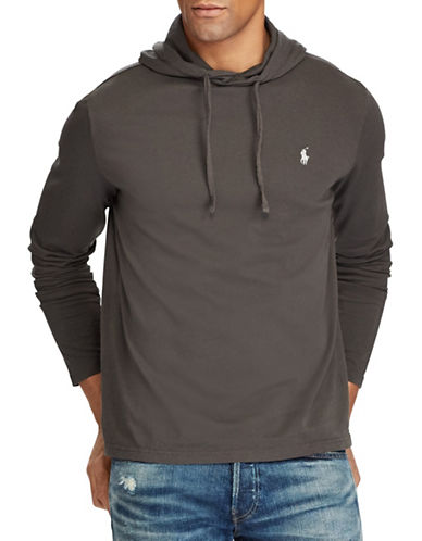 Polo Ralph Lauren Big and Tall Hooded Cotton Tee-BLACK-1X Tall