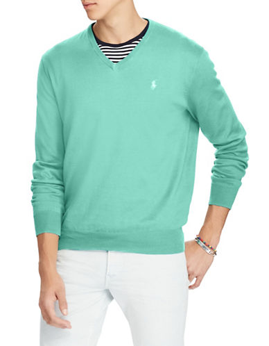 Polo Ralph Lauren Classic V-Neck Cotton Sweater-GREEN-Small