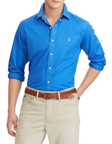 Polo Ralph Lauren Classic-Fit Cotton Sport Shirt-BLUE-Small