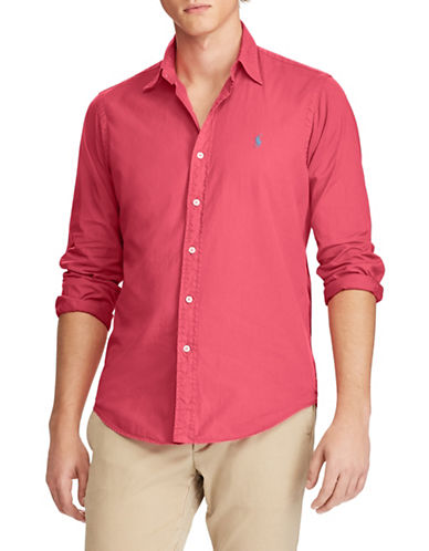 Polo Ralph Lauren Classic-Fit Twill Cotton Sport Shirt-RED-Medium