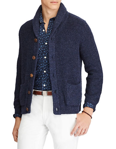 Polo Ralph Lauren Linen-Blend Shawl Cardigan-BLUE-X-Large