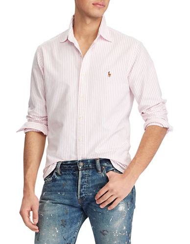 Polo Ralph Lauren Big and Tall Classic-Fit Striped Cotton Sport Shirt-PINK-Large Tall