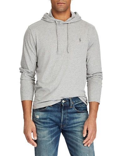 Polo Ralph Lauren Long-Sleeve Cotton Jersey Hooded Tee-GREY-X-Large