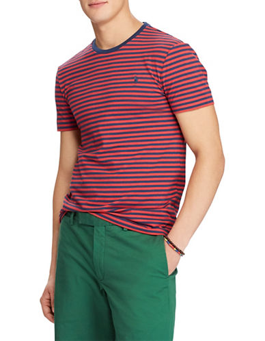 Polo Ralph Lauren Custom Slim-Fit Striped Cotton Tee-RED-Large