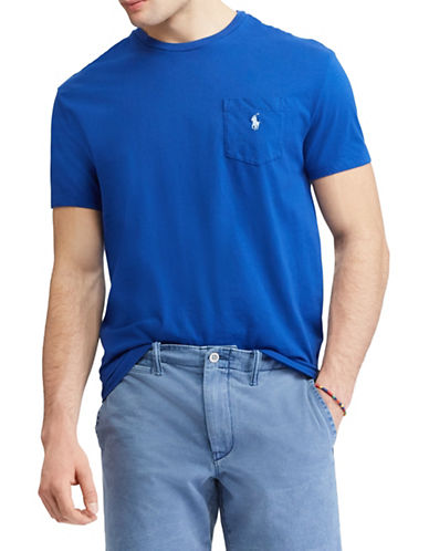 Polo Ralph Lauren Classic-Fit Pocket Cotton Tee-MEDIUM BLUE-X-Large