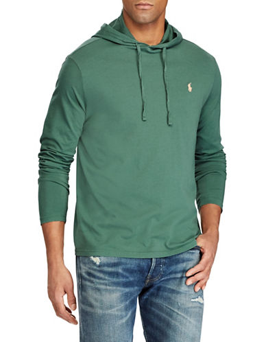 Polo Ralph Lauren Big and Tall Hooded Cotton Tee-GREEN-1X Tall