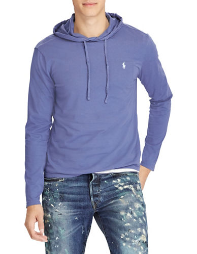 Polo Ralph Lauren Big and Tall Hooded Cotton Tee-BLUE-Large Tall