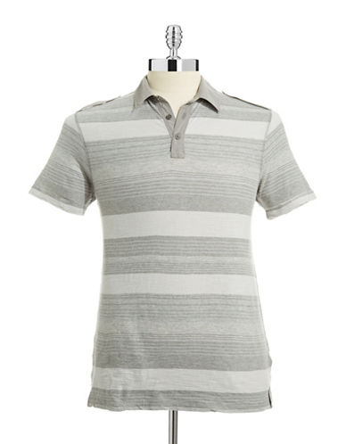 Calvin Klein Jeans Striped Tab Epaulette Polo-GREY-Large