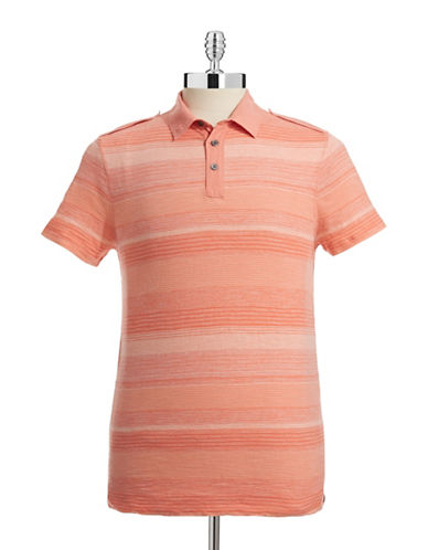 Calvin Klein Jeans Striped Tab Epaulette Polo-ORANGE-Large
