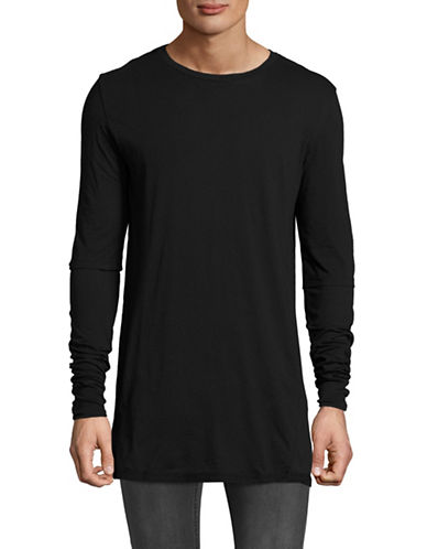 Hip And Bone Long Sleeve City Fooler T-Shirt-BLACK-X-Large
