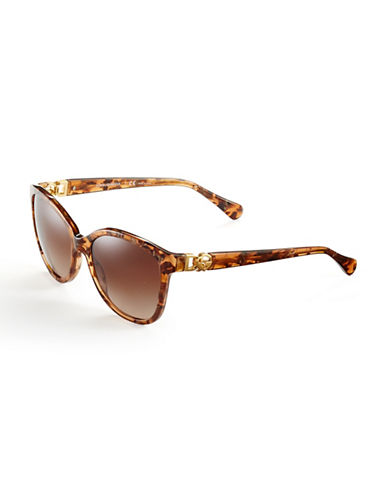 Dolce & Gabbana Logo Hinge Butterfly Sunglasses-BROWN MARBLE-One Size