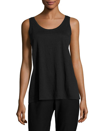 Eileen Fisher Organic Linen Tank Top-BLACK-Medium