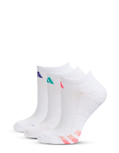 Adidas Three-Pair Cushioned Climalite Compression Socks-WHITE-One Size