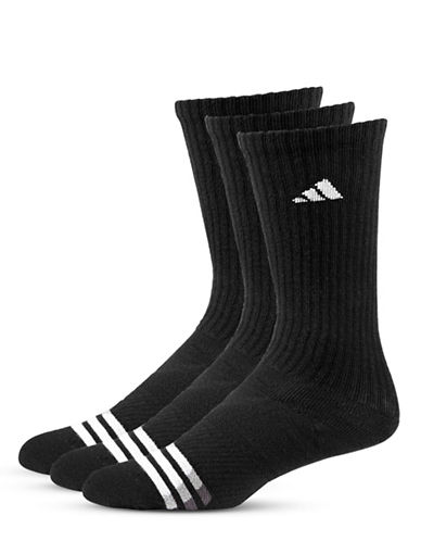 Adidas Three-Pair Climalite Cushioned Socks-BLACK-One Size