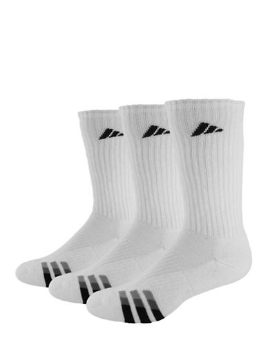 Adidas Three-Pair Cushioned Crew Socks-WHITE-One Size