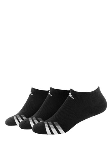 Adidas Three-Pair Cushioned No-Show Socks-BLACK-One Size