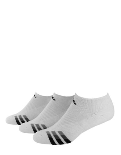 Adidas Three-Pair Cushioned No-Show Socks-WHITE-One Size