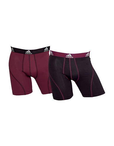 Adidas Two-Pack Climalite Boxer Briefs-MAROON/BLACK-Large