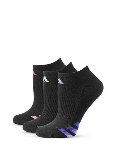 Adidas Three-Pair Cushioned Climalite Ankle Socks-BLACK-One Size