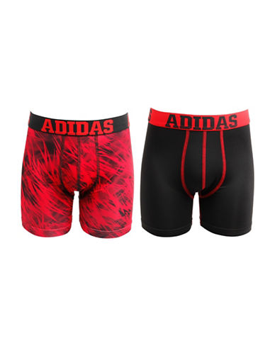 Adidas Two-Pack Sport Performance Climalite Boxer Briefs-RED/BLACK-Small